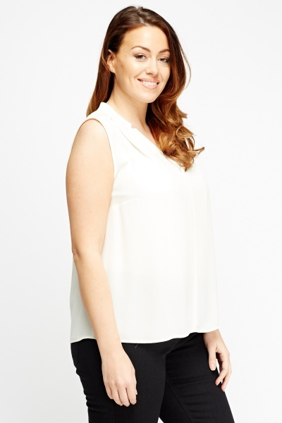 Sheer Cream Sleeveless Top
