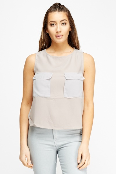Twin Pocket Contrast Top
