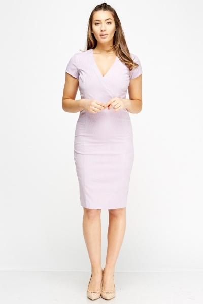 Wrap Faint Print Pencil Dress
