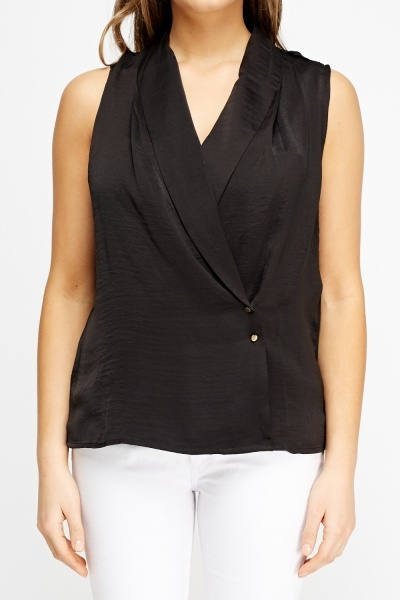Wrap Plunge Sleeveless Top