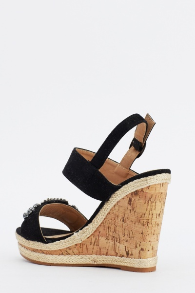 Contrast Embellished Platformed Sandals