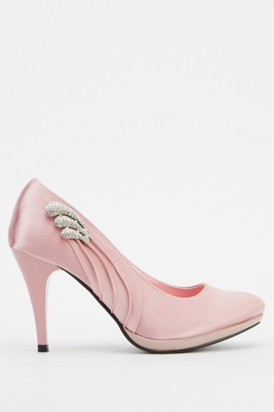 Encrusted Satin Court Heels