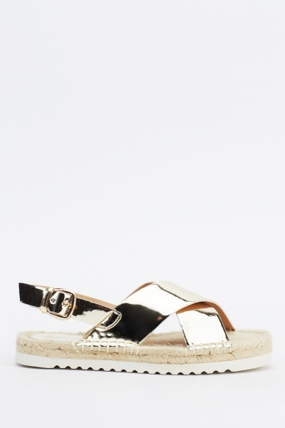 Holographic Espadrille Sandals