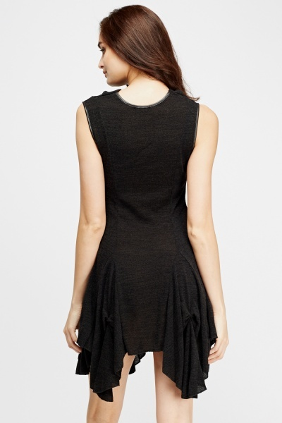 Asymmetric Hem Knit Dress