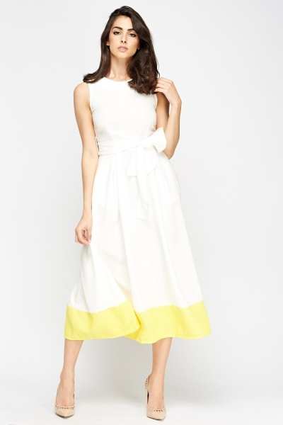 Contrast Trim Tie Up Midi Dress
