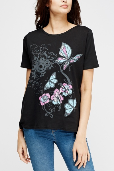 Multi Butterfly Printed Top