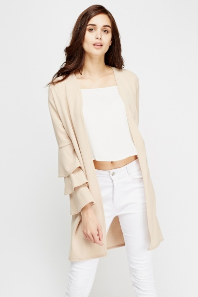 Ruffle Sleeves Open Long Cardigan