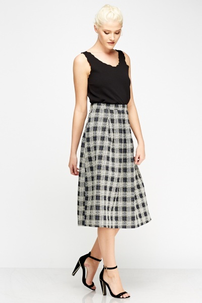 Check Grid High Waist Midi Skirt