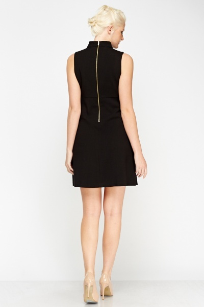 High Neck Black Dress