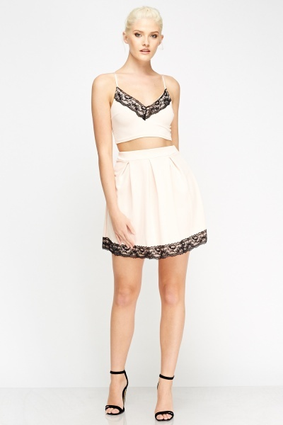 Lace Trim Cropped Top And Skirt Set