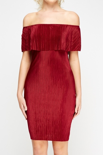 Pleated Off Shoulder Wine Dress