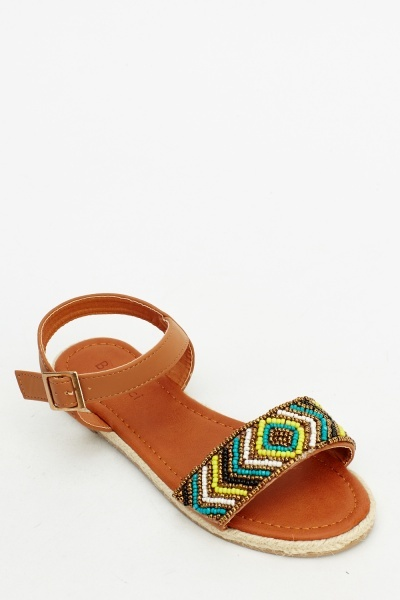 Beaded Strap Flat Sandals