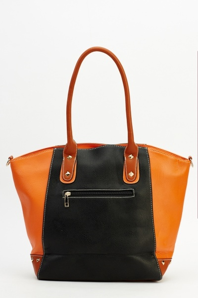 Colour Block Studded Tote Bag