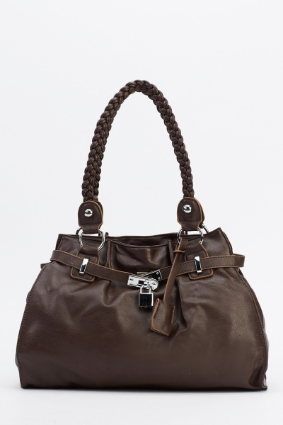Plait Handle Faux Leather Handbag