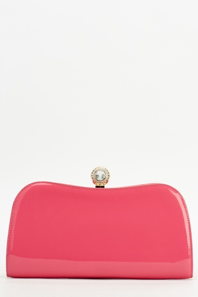 PU Diamante Top Clutch Bag