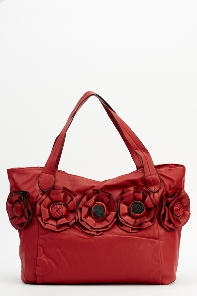 Rose Faux Leather Handbag