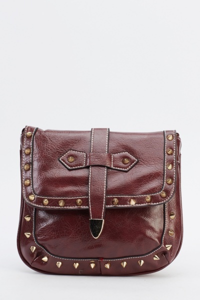 Spike Trim Studded Shoulder Bag