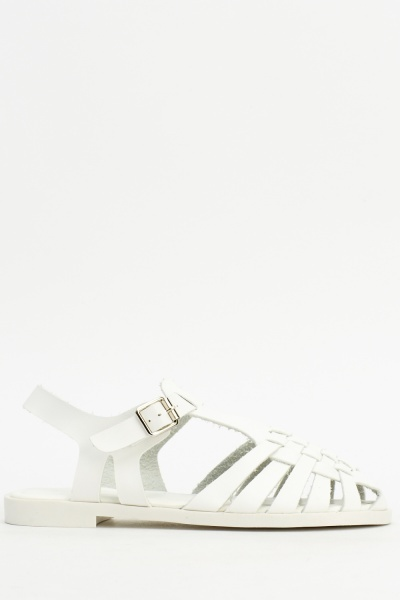 Woven Front Faux Leather Sandals