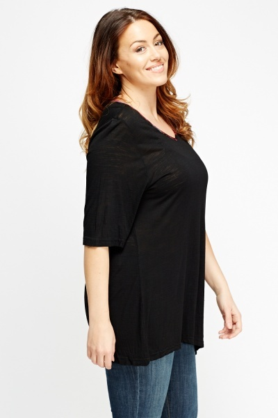 Asymmetric Stitched Patch Top