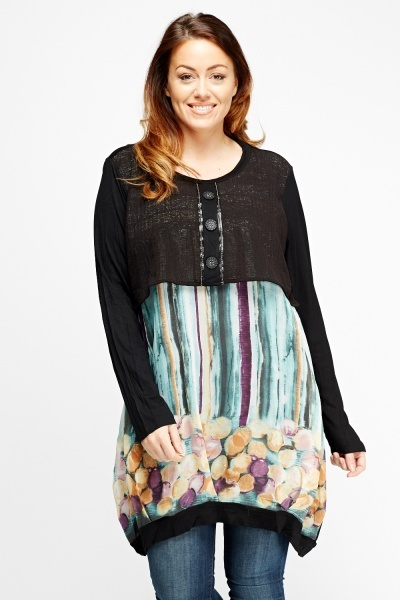 Bodice Overlay Printed Contrast Top