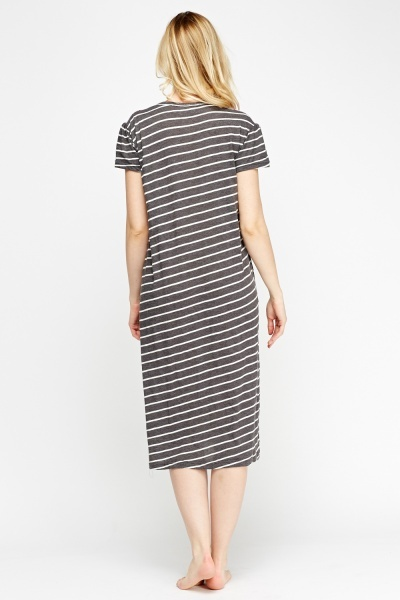 Charcoal Striped Contrasted Night Dress