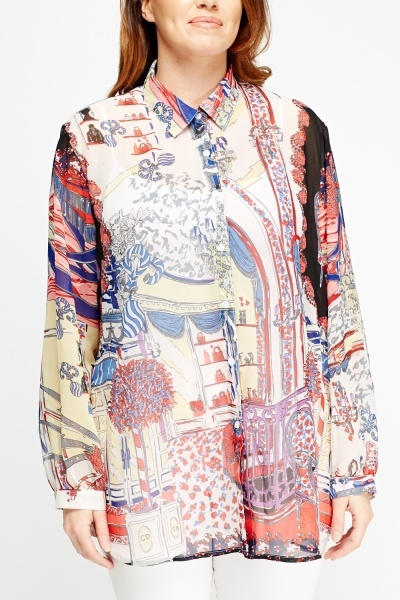 Mixed Print Sheer Off White Blouse
