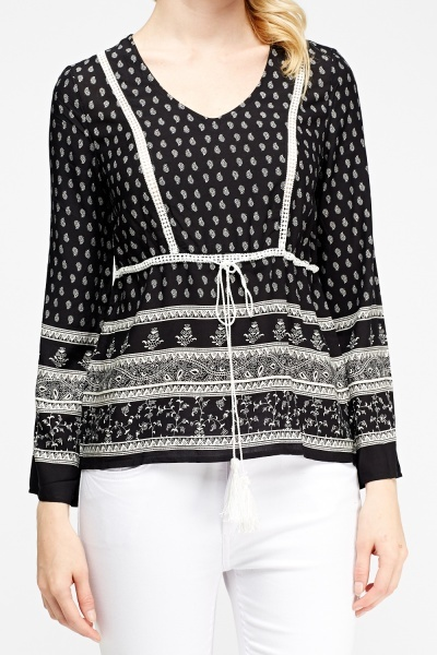 Paisley Print Tie Up Top