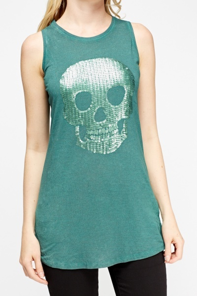 Sequin Skull Green Top