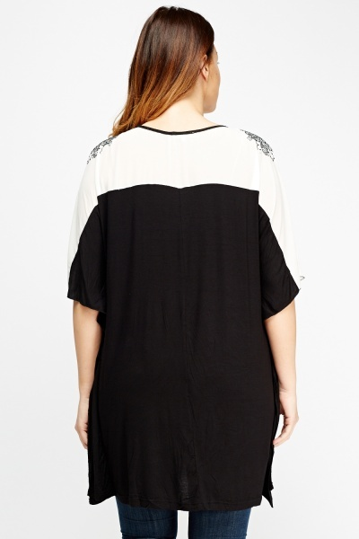 Embroidered Bodice Batwing Top