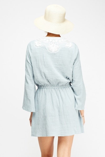 Embroidered Front Cotton Dress