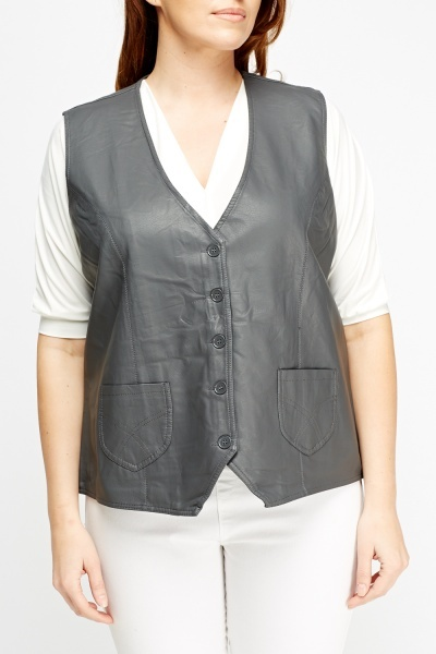 Faux Leather Sleeveless Waist Coat
