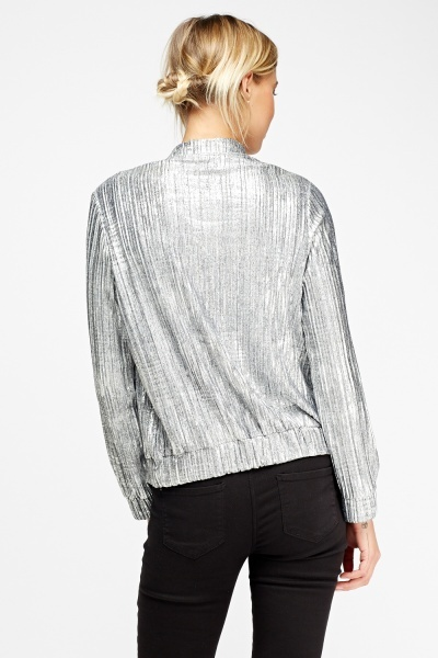 Metallic Pleated Bomber Jacket