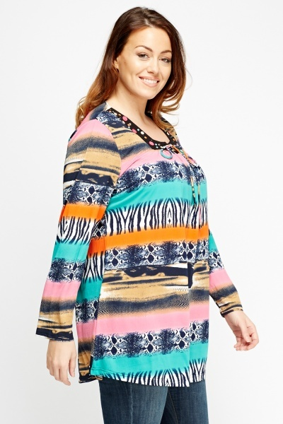 Mixed Print Stripe Embroidered Top
