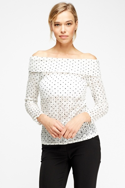 Off Shoulder Heart Printed Top