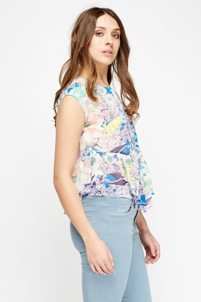 Floral Sheer Flared Top