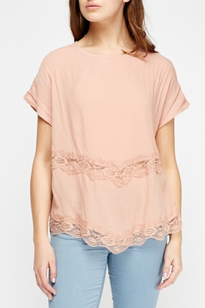 Lace Trim Dip Hem Top