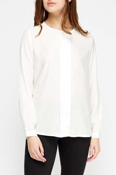 Off White Collarless Shirt