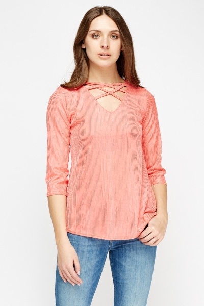 Pleated Detail Neck Top