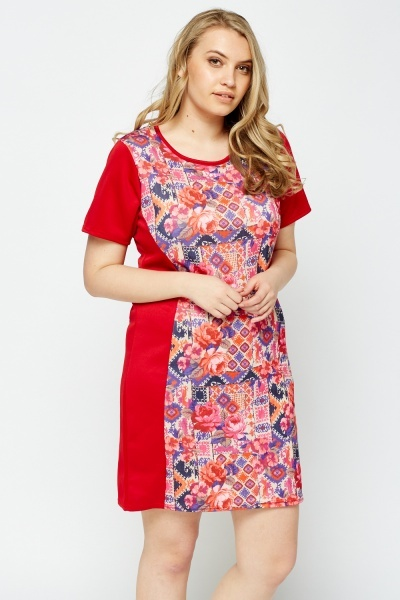Red Printed Panel Dress