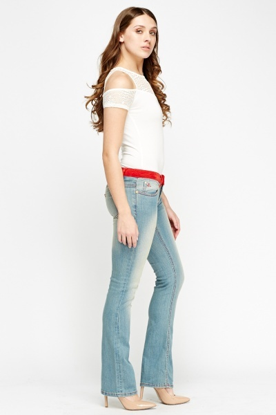 Red Trim Contrast Denim Jeans
