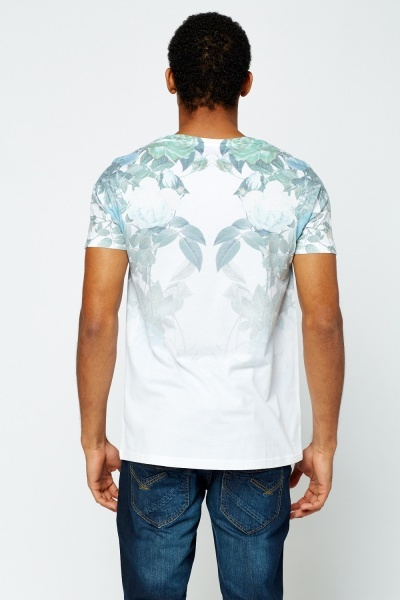 Rose Printed White T-Shirt