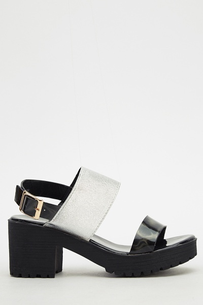 Metallic Holographic Block Heel Sandals