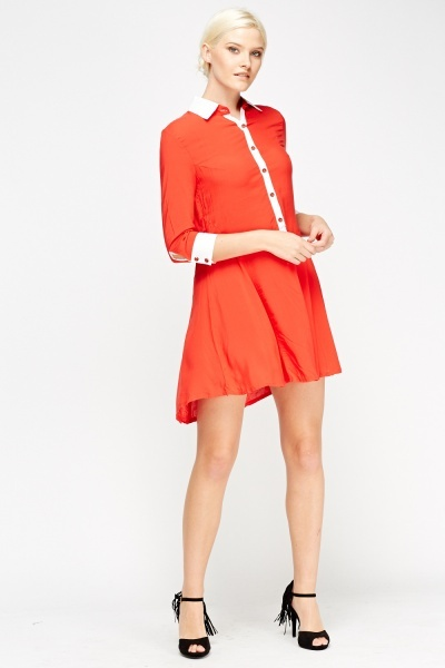 Contrast Button Up Skater Dress