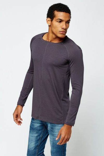 Contrast Stitched Long Sleeve T-Shirt