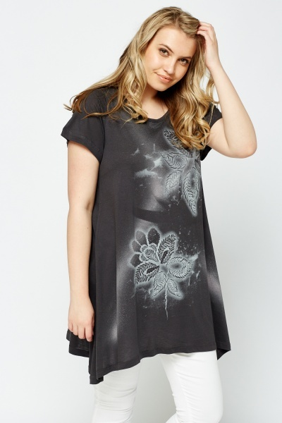 Floral Printed Asymmetric Top