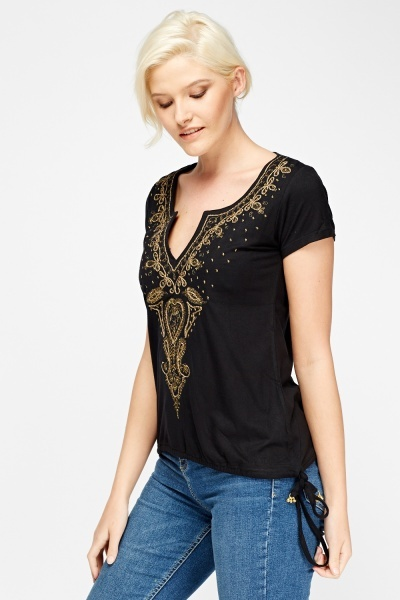 Metallic Embroidered Top