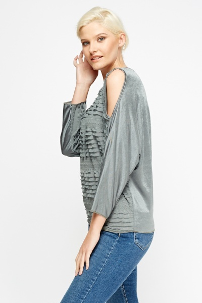 Ruched Cold Shoulder Batwing Top