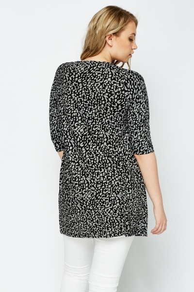 Black Leopard Print Top