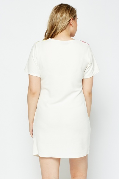 White Textured Printed Panel Dress