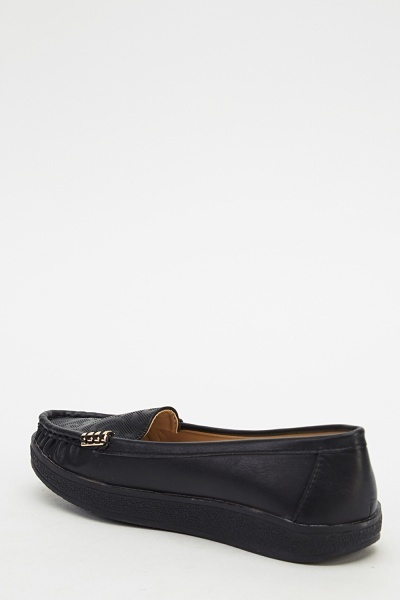 Black Faux Leather Loafers